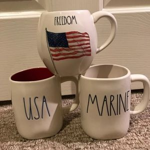 Rae Dunn marine, USA & freedom mug set